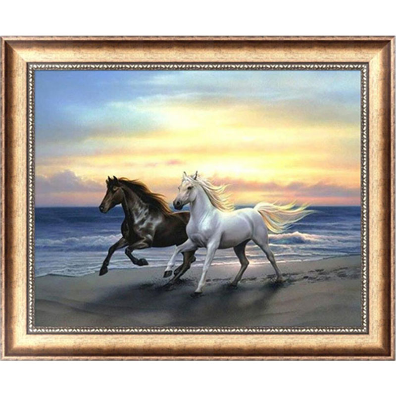 Horses 5D Diamond Embroidery Painting Cross Stitch DIY Craft Mosaic Home Decor 38cm*30cm-Y102