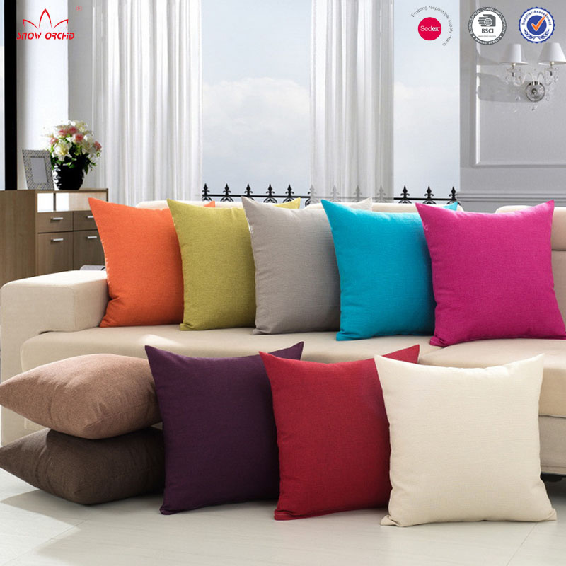 Home textile decorative solid color cotton linen sofa cushion chair bedroom cushion cover throw pillow case