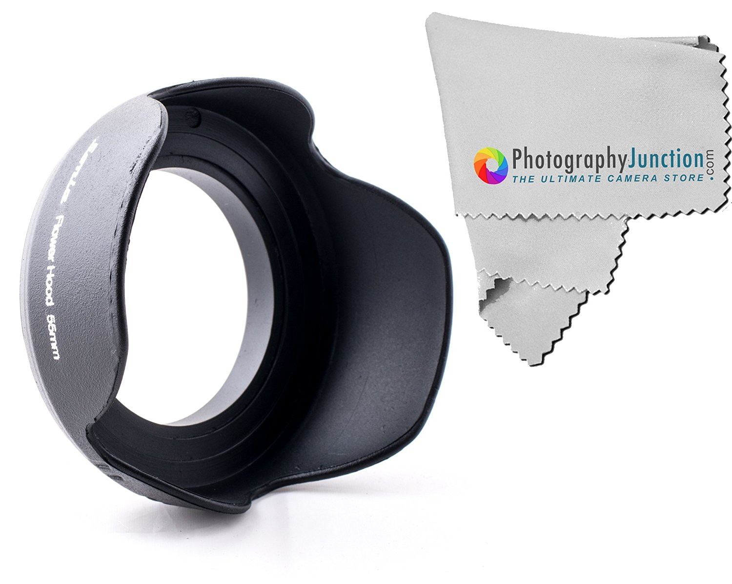 Photography Junction Sonia 55mm Screw on Tulip Shaped Flower Lens Hood Premium Micro Fiber Cloth for SONY Alpha Series A99 A77 A65 A58 A57 A55 A390 A100 DSLR Cameras
