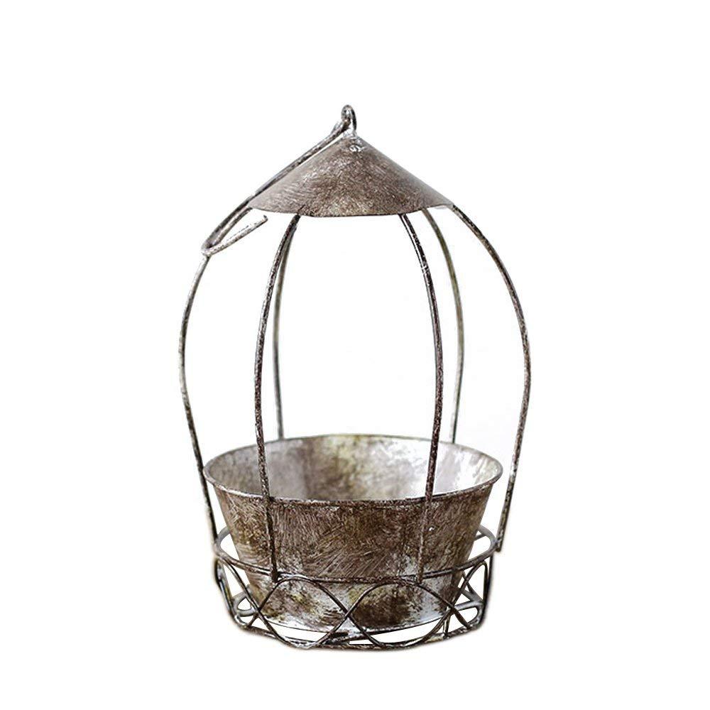 Calunce Old Style Succulent Planter Bird Cage Shape Planter Pot Iron Flower Pot