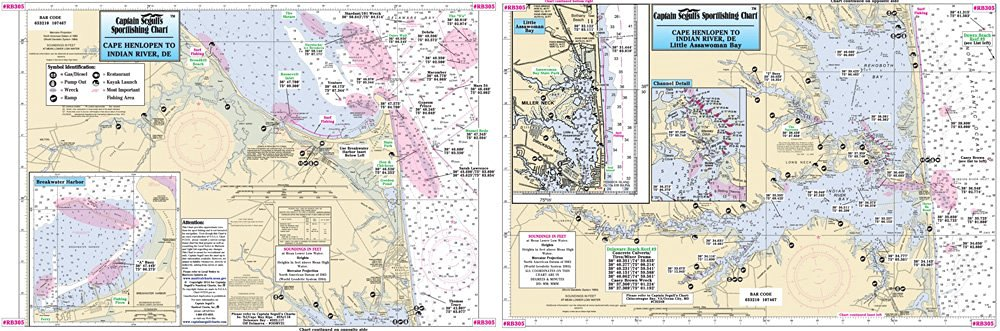 Captain Segull's Small Boat Rehoboth Bay & Indian River Delaware Nautical Chart