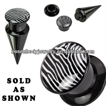 Unique Custom Ear Taper Black Acrylic Body Piercing Jewelry