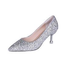 Плюс Размеры женская свадебная обувь серебристого цвета шикарные, на высоких каблуках Туфли под платье золотые ботинки на каблуках блестящ...(Китай)