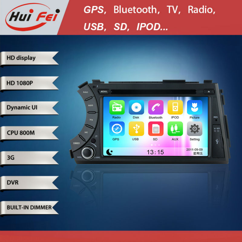 "HuiFei 7""inch ""In dash Car DVD for SsangYong Kyron Actyon with 800MHz CPU/HD 1080P/ SAMSUNG DDR 3/LRC display/3G WIFI"