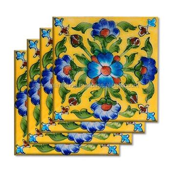 Floral Wall Art Ceramic Tiles Blue Pottery Tiles - Buy Ceramic Blue ...