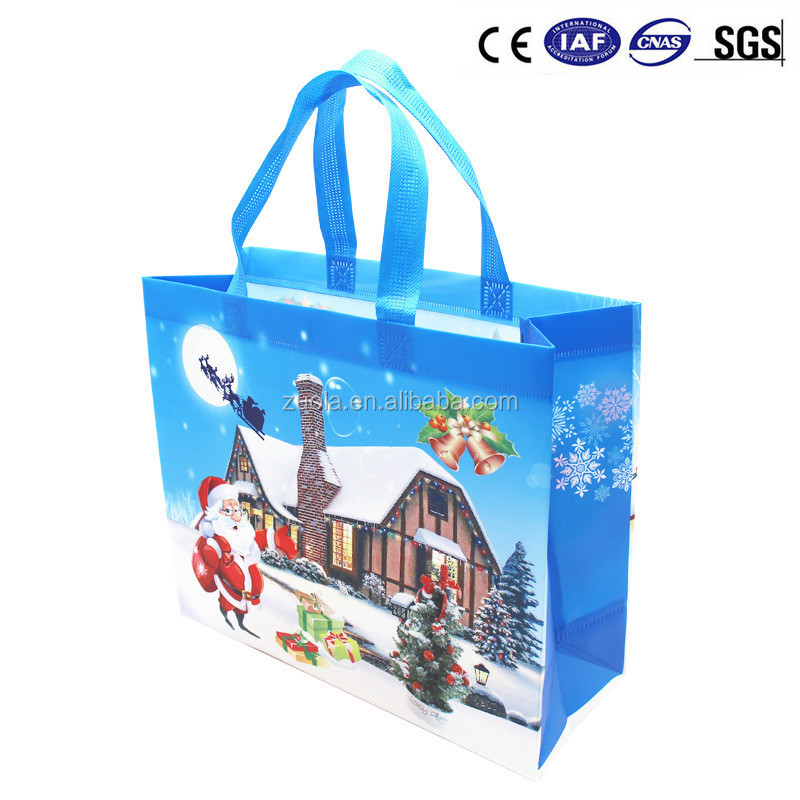 Christmas shopping bag reusable laminated shopping bag <strong>pp</strong> (Can be Custom)