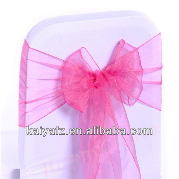 22*280cm ORGANZA BLUSH CHAIR COVER SASH BOWKNOT WEDDING BANQUET PARTY DECOR