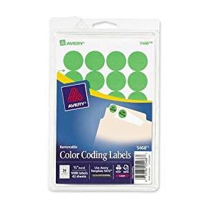 Avery Products - Avery - Print or Write Removable Color-Coding Labels, 3/4in dia, Neon Green, 1008/Pack - Sold As 1 Pack - Ideal for document and inventory control, routing, organizing, scheduling. - Labels stick well, remove easily, and leave no residue. - Handwrite or print from your printer. -