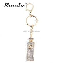 Luxury 3D Perfume Bottle Bling Crystal Zinc Alloy Keychain