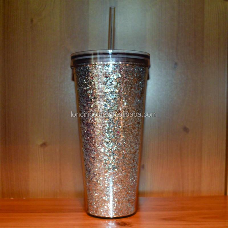 20oz gold glitter tumbler with striped strawbpa free