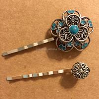 womens antiqued silver flower hair clip