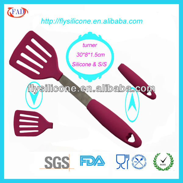 Red Silicone Slotted Turner Shenzhen Silicone Kitchen ware set Factory Directly Price With FDA&LFGB Certification