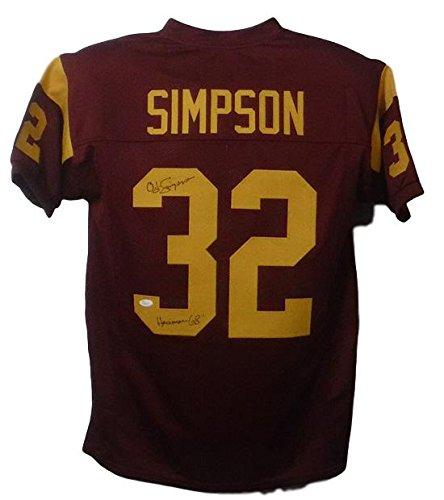 da20ce051 Get Quotations · OJ Simpson Autographed USC Trojans Custom Size XL Red  jersey Heisman 68 JSA