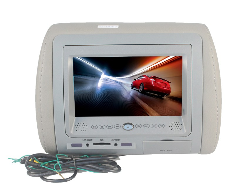 2016 New Arrival Cheap Hot Sale Digital Screen 7inch Automotive Headrest DVD Player with DVD/SD/USB/FM/IR/Zipper