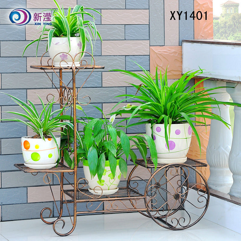New Wrought Iron Bicycle Garden Basket 3 Tier Patio Porch Plant Flower Pot  Stand Home Decor