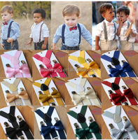 Children Kids Boys Girls Solid Color Clip-on Suspenders Elastic Adjustable Braces With Cute Bow Tie