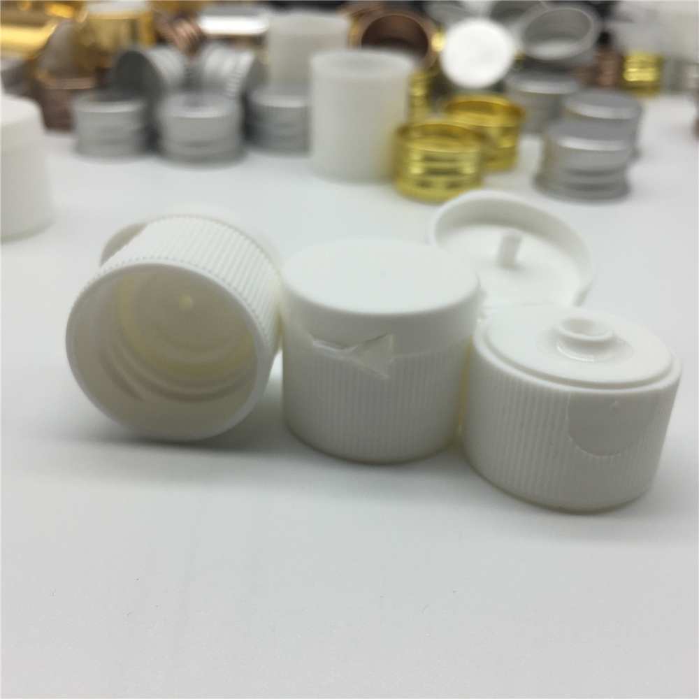 24mm White Plastic Flip Top Cap Non Spill Screw Top Cap for PET Lotion Bottles