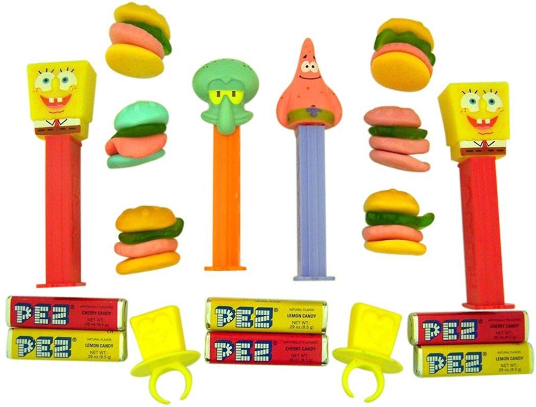 Buy Spongebob Squarepants PEZ Dispenser Set with Lollipop Rings and ...