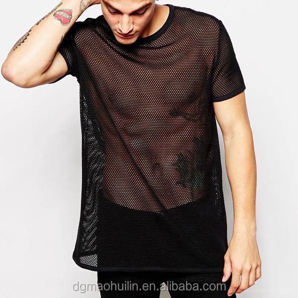 Extended T Shirt Design Plain Longline Black Mesh T Shirt