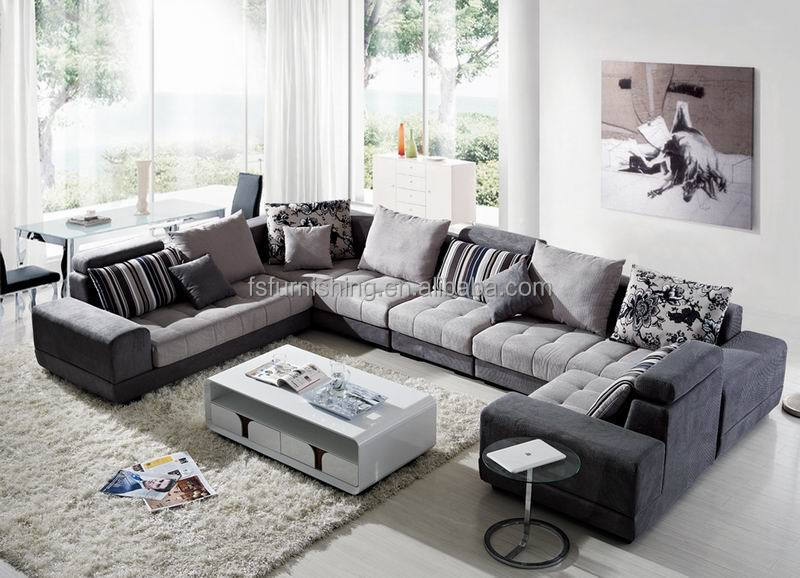 Md601b Modern Good Quality Velvet Fabric Arabic Large U Shape Living Room Salon Sectional Soft