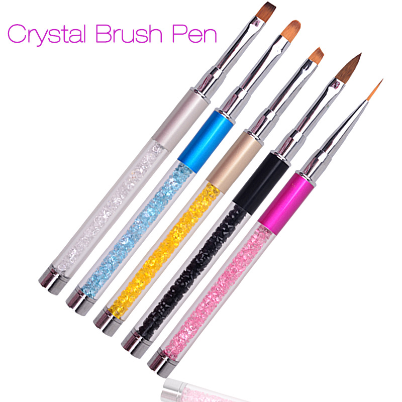 Nail Art Brush Pen Rhinestone Diamond Metal Acrylic Handle Carving Powder Gel Liquid Salon Liner Nail Brush With Cap