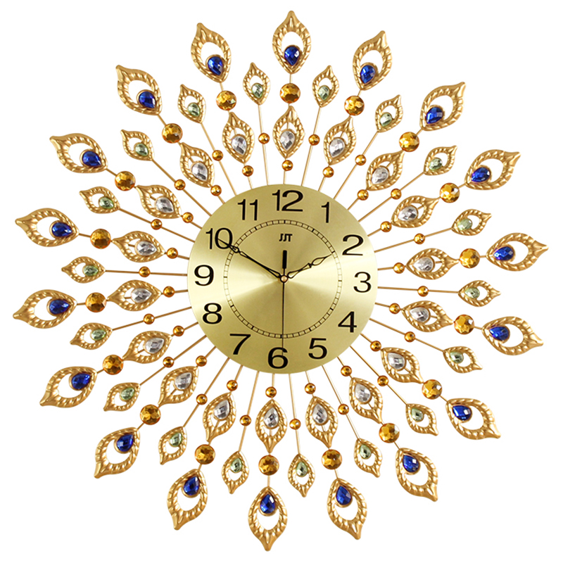 Large Luxury Metal Crystal Peacock Goods Wall Decoration Wall Clock 72cm