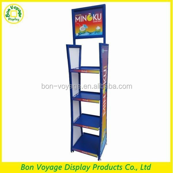 Hot sale floor standing metal water drink display rack for stores