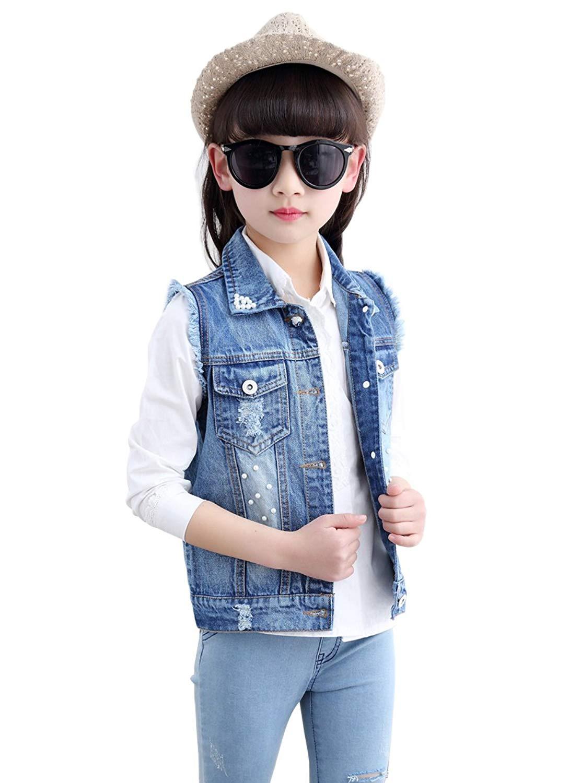 87632faf8348b Get Quotations · LOKTARC Kids Girls Sleeveless Denim Jacket Jean Vest  Waistcoat With Beads