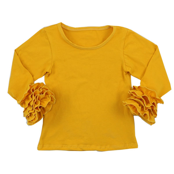 39618cf9 Kaiyo wholesale icing baby girls cotton top blank ruffle shirt best selling  items