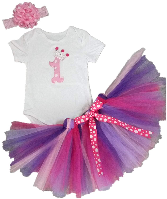 7316f8c58 AISHIONY Baby Girls' 1st Birthday Tutu Onesie Outfit Newborn Princess Dress  3PCs