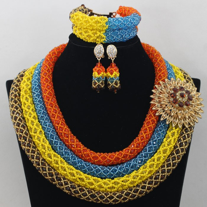 2016 fashion african beads necklace design for ladies suit nigerian wedding beaded jewellery set wholesale GWH0066