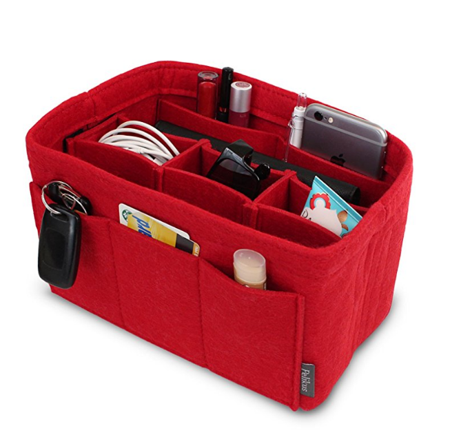 Durable multi-size felt purse insert organizer and felt handbag organizer