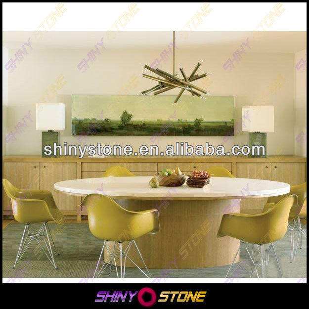 Contemporary round living room artificial marble stone restaurant table top