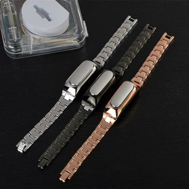 Luxury WristBand Stainless Steel Strap For Xiaomi MI Smart Wristband 1S S1 1A