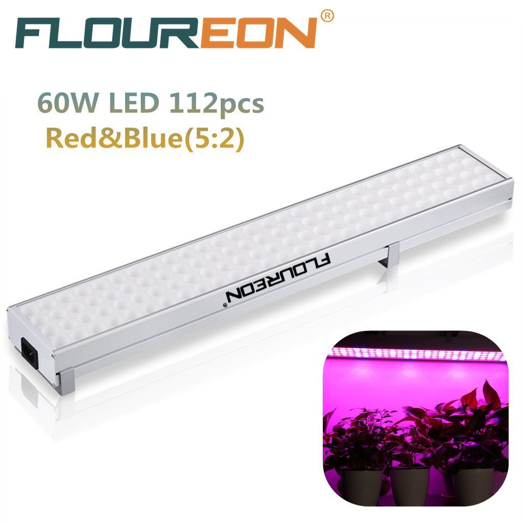 Floureon 60W 112pcs LED Plant Grow Light & Lighting Panel, for Hydroponic Plant Flower Vegetable Greenhouse Garden, Red&Blue(5:2) Indoor Plant Grow Light Hanging Light, AC85-264V ( 80Red+ 32Blue )US