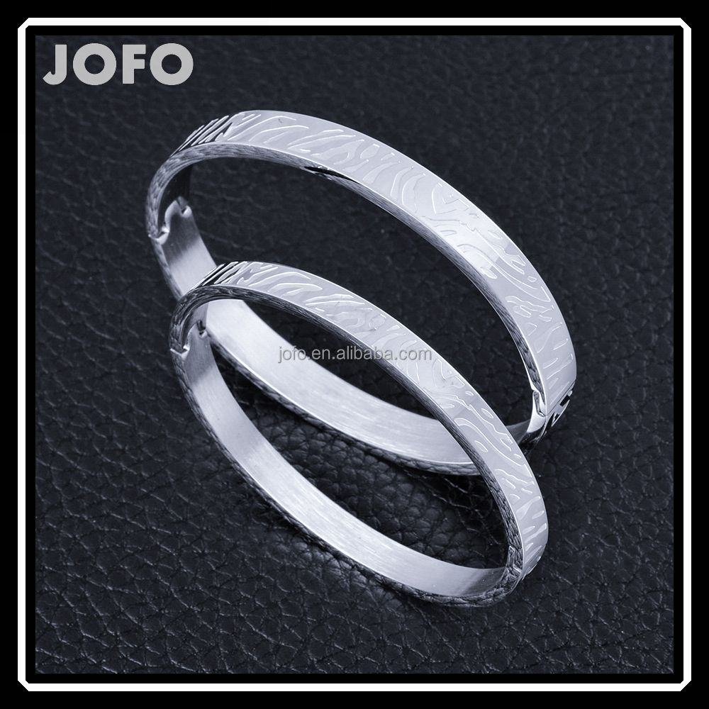 Unique Style Stainless Steel Zebra Stripes Cuff Couple Bangles SMJ0030
