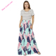 Women Striped Shirt Top Blue Pink Feather Print Maxi Dresses