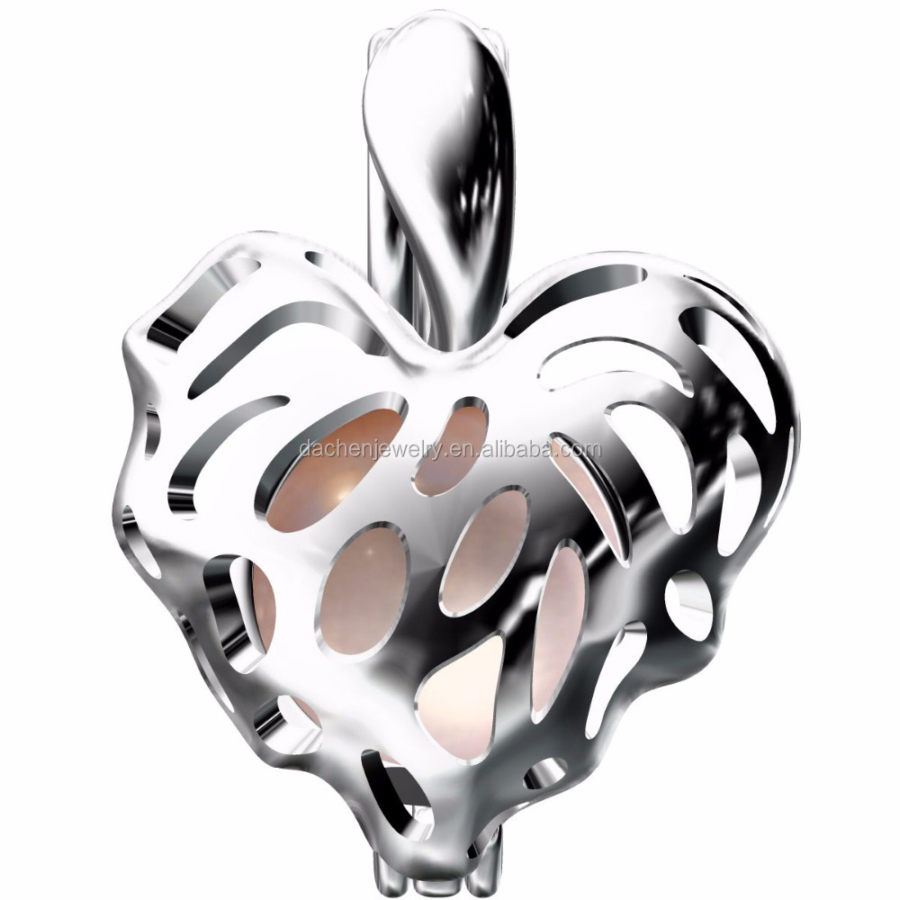 Fashion Pearls Cage Collection 925 Sterling Silver leaf Heart Locket Pendant
