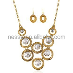 High quality fashion necklace imitation gold plated jewellery sets NSNK-25775