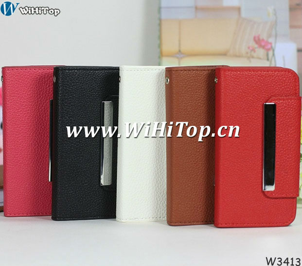 For iPhone 5 5G Leather Case Credit Card Cover 2 in 1 Design Skin.Litchi Pattern Case For iPhone 5