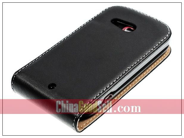 Genuine Leather Flip Case For HTC A320e Desire C,Golf,Wildfire C + Free Shipping
