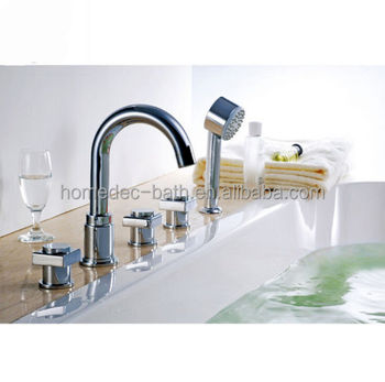 best quality exquisite deck mount waterfall bath shower tub faucet