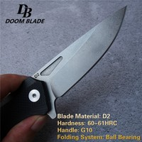 "7.9"" 60-61HRC Knives D2 Pocket Folding Knife Tactical Survival Camping Hunting Knife Flipper G10 Handle EDC Rescue Ball Bearing"