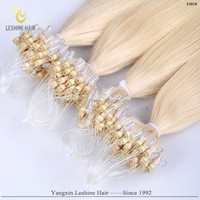 Alibaba Trade Assurance Italian Glue Remy Virgin Wholesale double beads micro ring hair extensions