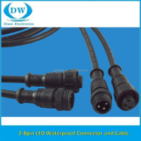 male and female 8 pin waterproof connector cable