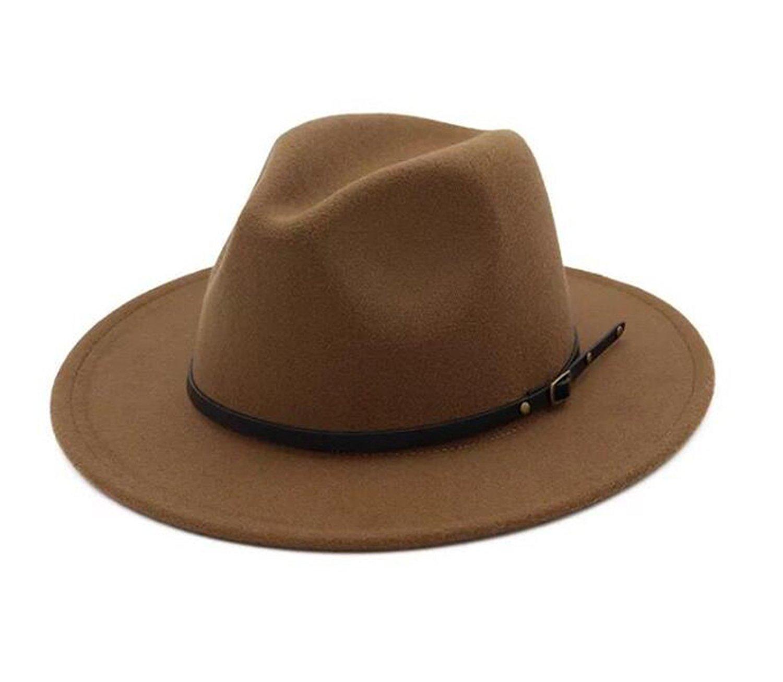 2caa22dbcbd Get Quotations · Lanzom Womens Classic Wide Brim Floppy Panama Hat Belt  Buckle Wool Fedora Hat