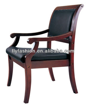 Wooden Arms Leather Office Chair Antique Arm Chairs Oc 53c