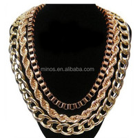 Wholesale Goldtone 20 Inch Adjustable Links, Box and Braided Chain Necklace