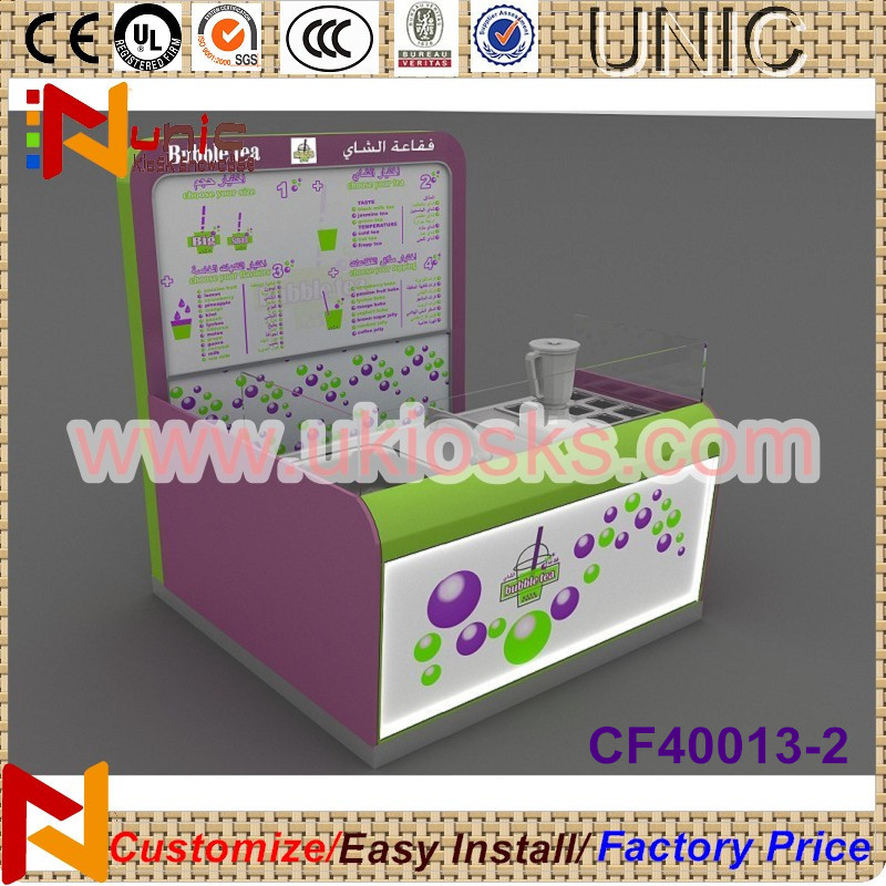 Hot sale coffee kiosk/bubble tea kiosk/ice cream kiosk with 3D free design