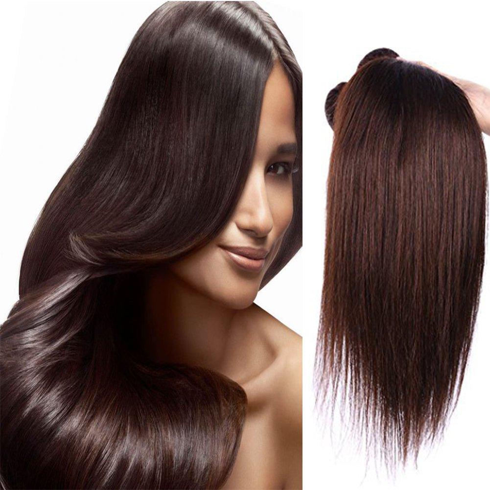 "XCCOCO Hair 8A Grade Brazilian Virgin Human Hair 3Bundles Silk Straight Hair Extensions 2# Remy Dark Brown Hair Wefts Weave(2# Dark Brown, 20"" 22"" 22"")"
